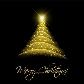 抽象的な黄金のクリスマスツリーの背景
