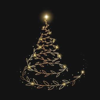 Abstract golden christmas tree background