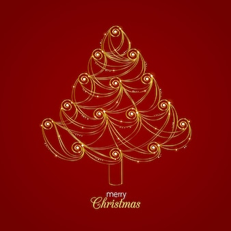 Abstract golden christmas tree concept