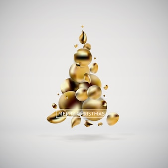 Abstract golden christmas tree. liquid fluid background of modern graphic elements. template for card, poster, flyer, presentation, banner. vector illustration