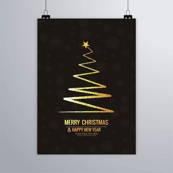Abstract golden christmas tree poster