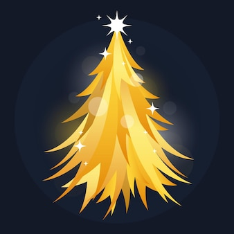 Abstract golden christmas tree