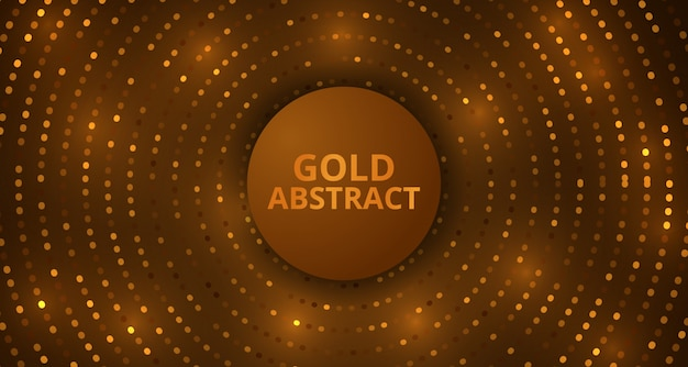 Abstract golden circle glitter detail luxury glow effect ornament background template