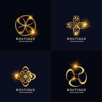 추상적 인 황금 꽃 또는 부티크 장식 로고 컬렉션을 설정합니다. 스파, 살롱, 미용 또는 부티크 로고 디자인을 사용할 수 있습니다.