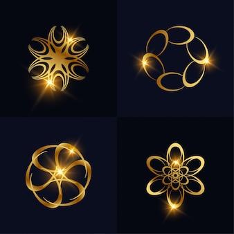 추상적 인 황금 꽃 또는 장식 로고 컬렉션을 설정합니다. 스파, 살롱, 미용 또는 부티크 로고 디자인을 사용할 수 있습니다.