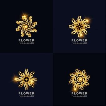 추상적 인 황금 꽃 또는 장식 로고 컬렉션을 설정합니다. 미니멀리스트, 크리에이티브, 심플, 디지털, 럭셔리, 우아하고 현대적인 로고 템플릿 디자인.