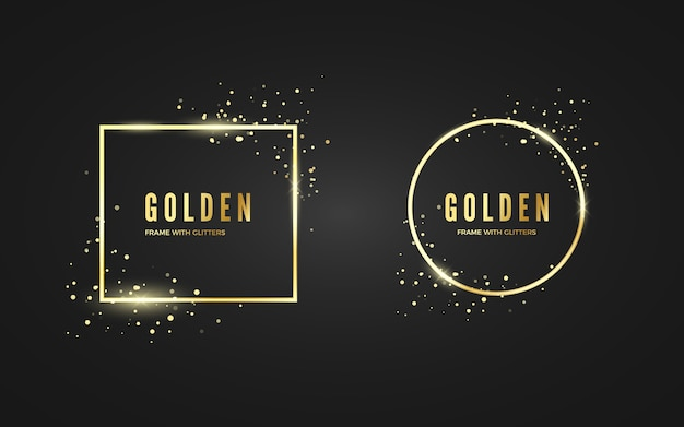バナーやポスターにキラキラとスパークル効果のある抽象的なゴールデンフレーム。ゴールドの正方形と円形のフレーム。黒の背景に分離