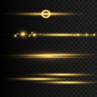抽象的なゴールデンフロントソーラーレンズフレア透明な特殊光効果。モーショングローフラッシュでぼかします。透明な背景に分離されました。装飾要素。星が光り輝く