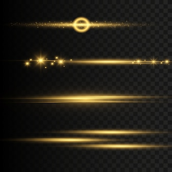 Abstract golden front solar lens flare transparent special light effect .  blur in motion glow flash. isolated on a transparent background. decor element. the star flashed with rays