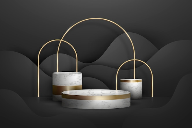 Abstract golden geometric podium with forms