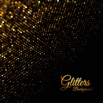 Abstract golden glitter particles