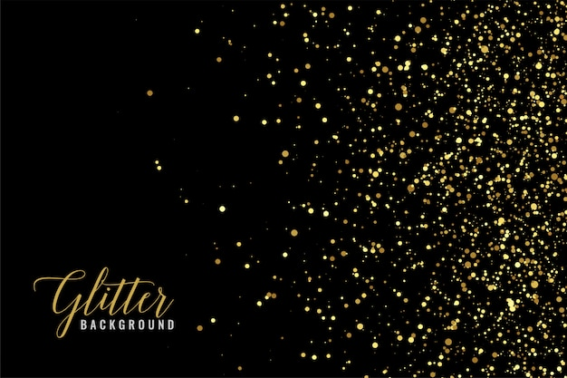 Abstract golden glitter sparkle on black