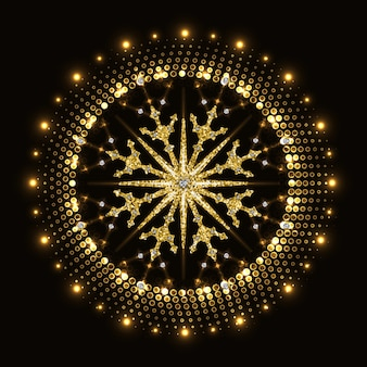 Abstract golden glittering snowflake in halftone neon circle.