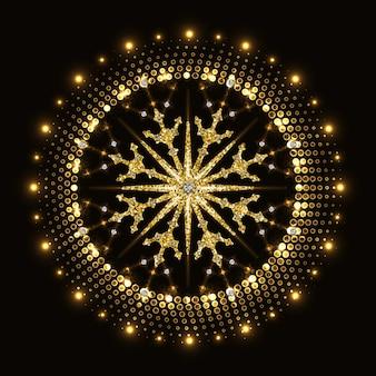 ハーフトーンネオンサークルの抽象的な金色のきらびやかなスノーフレーク。