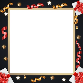 Abstract golden glossy frame background with gifts and tinsel