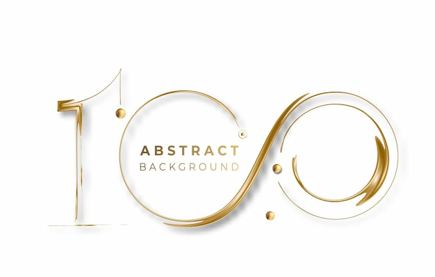 Abstract golden glowing shiny 100th circle lines effect vector background. use for modern design, cover, poster, template, brochure, decorated, flyer, banner.