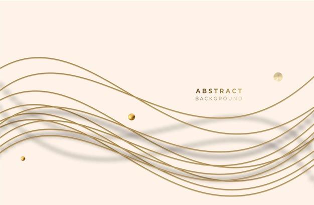 추상적인 황금 빛나는 빛나는 웨이브 라인 아트 효과 벡터 배경. 현대적인 디자인, 표지, 포스터, 템플릿, 브로셔, 장식, 전단지, 배너에 사용합니다.