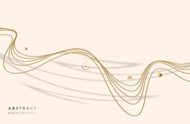 Абстрактные золотые светящиеся блестящие волновые линии