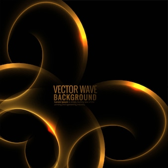 Abstract golden glowing wave background