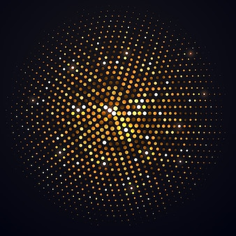 Abstract golden halftone circle  isolated  element. disco music party shiny