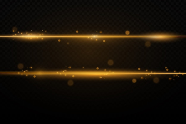 Abstract golden laser beams. isolated on a transparent black background.