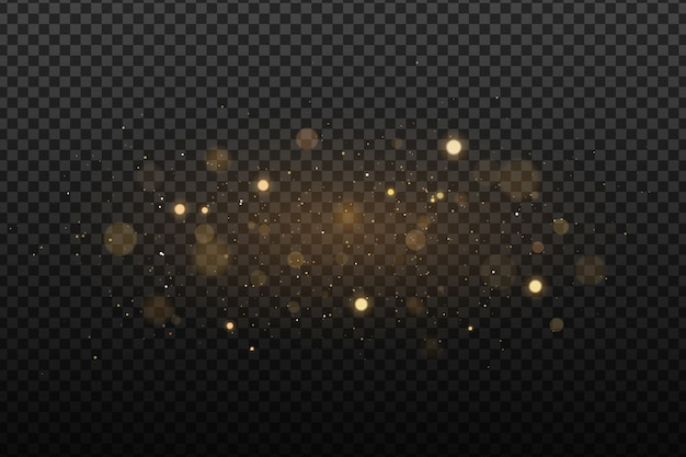 Abstract golden lights on a dark transparent background. glares with flying glowing particles. ligh effect.