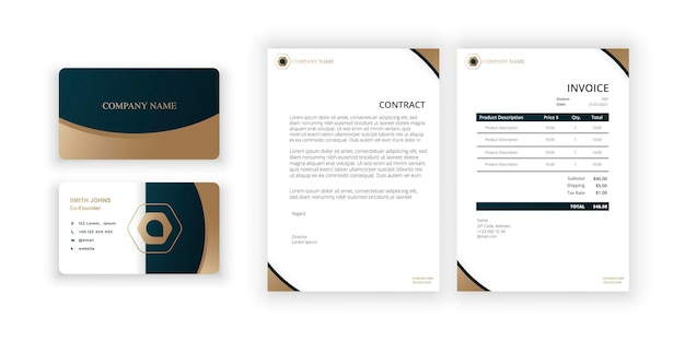 Abstract golden logo business card and blank modern minimalist template document design template