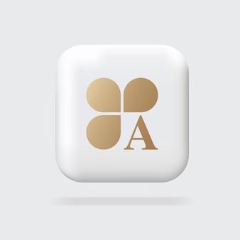 추상적인 황금 로고 클로버 로고와 로고 3d 기호 체적 기호 웹 배너 표지판