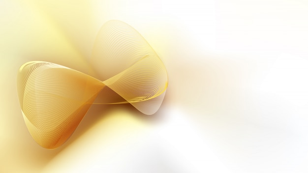 Abstract golden mesh on white satin silk with copy space for text