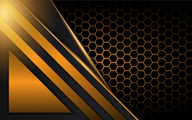 Abstract golden metal shapes on dark background