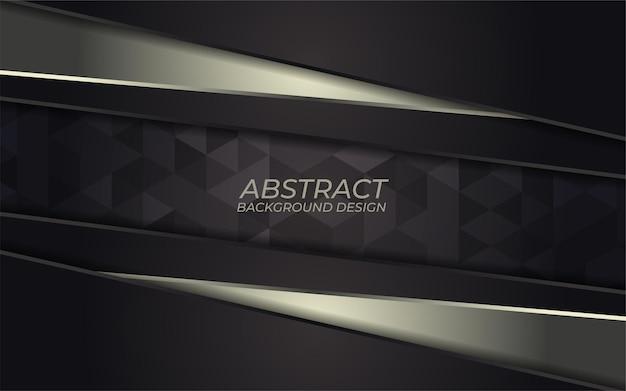 어두운 배경에 추상적 인 황금 금속 라인입니다. 럭셔리 오버랩 방향 디자인. 미래 지향적 인 현대 어두운 회색 배경.