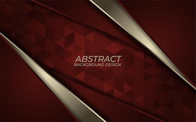 빨간색 배경에 추상적 인 황금 금속 라인입니다. 럭셔리 오버랩 방향 디자인. 미래 지향적 인 현대 빨간색 배경.
