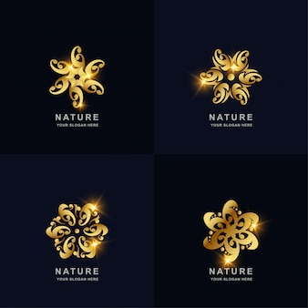 추상적 인 황금 자연, 꽃 또는 장식 로고 컬렉션을 설정합니다. 미니멀리스트, 크리에이티브, 심플, 디지털, 럭셔리, 우아하고 현대적인 로고 템플릿 디자인.