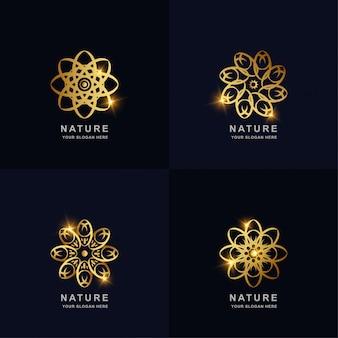 추상적 인 황금 자연 또는 꽃 장식 로고 컬렉션을 설정합니다. 스파, 살롱, 미용 또는 부티크 로고 디자인을 사용할 수 있습니다.