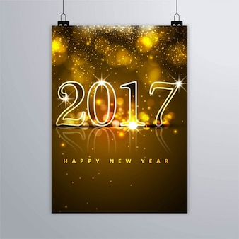Abstract golden new year 2017 poster