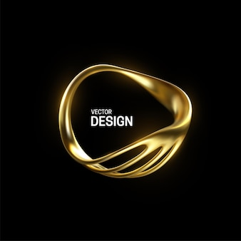 Abstract golden organic shape isolated on black background