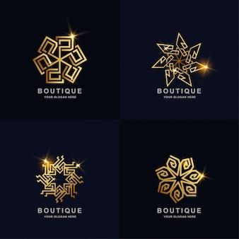 추상적 인 황금 장식 부티크 로고 컬렉션을 설정합니다. 미니멀리스트, 크리에이티브, 심플, 디지털, 럭셔리, 우아하고 현대적인 로고 템플릿 디자인.