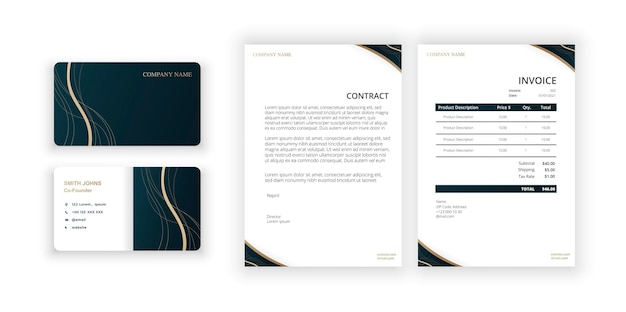Abstract golden ornament business card and blank modern minimalist template document design