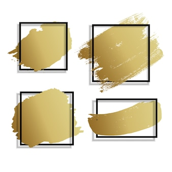 Абстрактная золотая краска мазка руки drawn фон