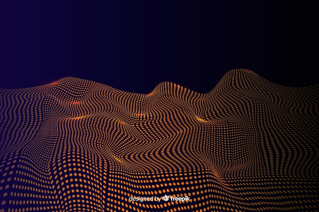 Abstract golden particles net on dark background