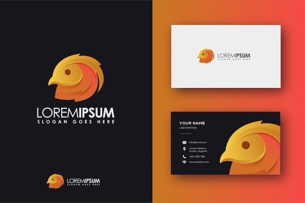 Abstract golden pheasent logo and business card