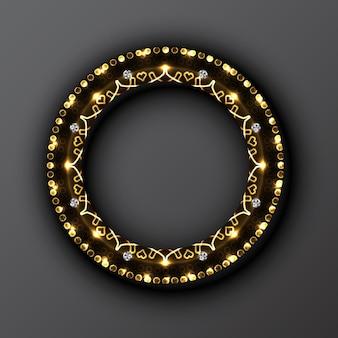 黒の背景にネオンパターンと抽象的な金色の丸いフレーム。