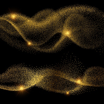 Abstract golden shiny smokey wave vectors