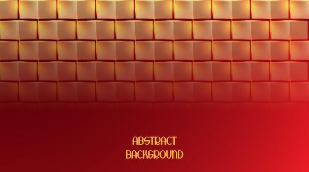 赤い背景の上の抽象的な金色の正方形