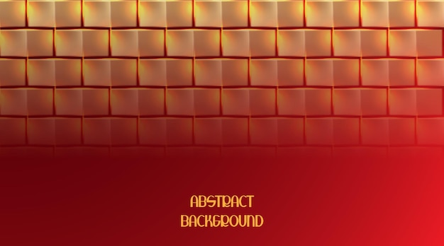 Abstract golden square on red background