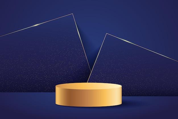 현대 상을위한 추상적 인 황금 무대. 럭셔리 3d 렌더링 기하학적 모양 어두운 파란색.