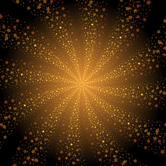 Abstract golden stars whirlpool background
