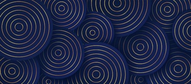 진한 파란색 배경에 추상 황금 줄무늬 원 겹침 패턴