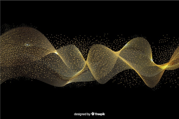 Abstract golden wave black background