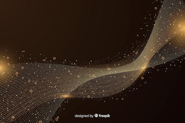 暗い背景上の抽象的な黄金の波